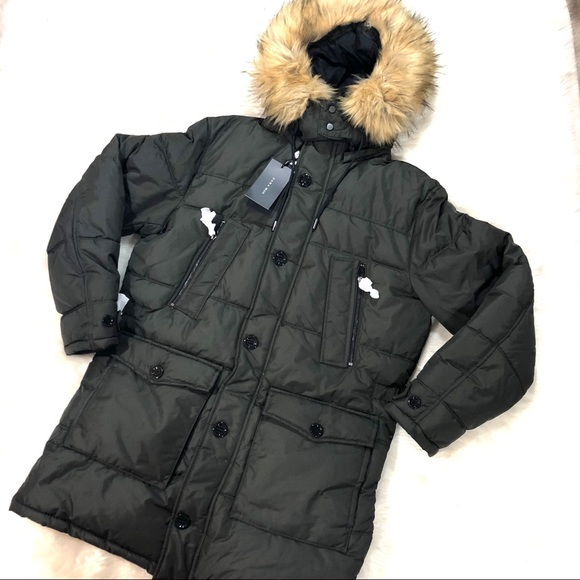 04be2e06e Zara Man NWT Quilted Parka with Faux Fur Hood NWT